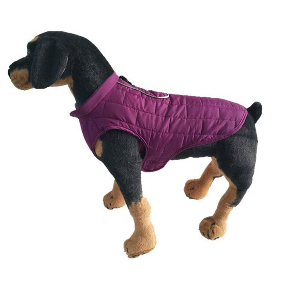 Purple Small Purple Small Autumn and Winter Lined Warm Dog Jacket for Puppy Winter Cold Weather Soft Windproof Small Dog Coat (color   Purple, Size   S)