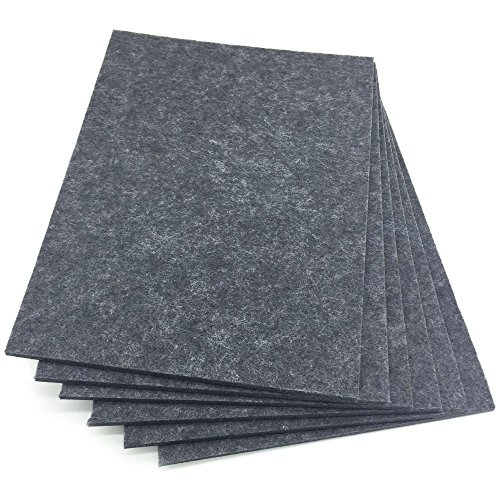 BXI Sound Absorber - Acoustic Absorption Panel - Polyester Fiber - 3 Colors - 16'' X 12'' X 3/8'' - 6 PACK (Gray)