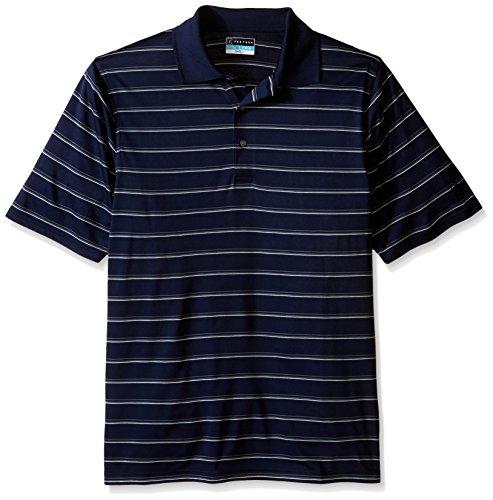 PGA TOUR Men's Big and Tall Golf Performance Three Color Stripe Polo Shirt, True Navy, - Stripe Shirt True Blues