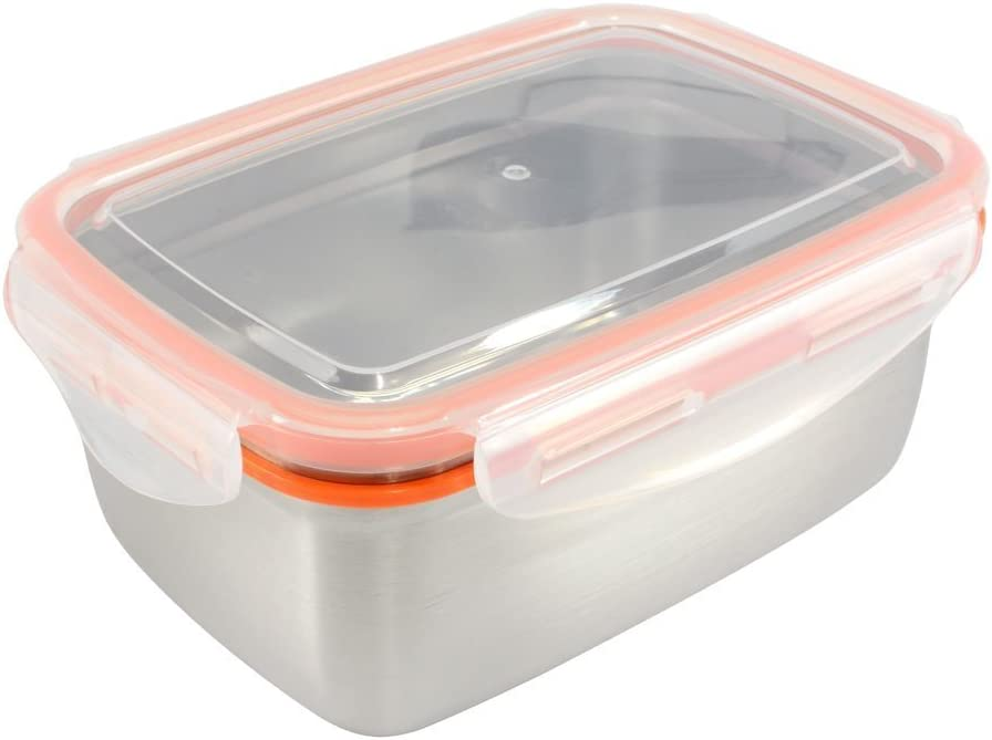 Mighty Hippo RECTANGLE Stainless Steel Food Container (Size: LARGE) - Perfect For Large Lunches (Leak Proof/Dishwasher Safe/Reusable/Food Safe/Metal/BPA Free)