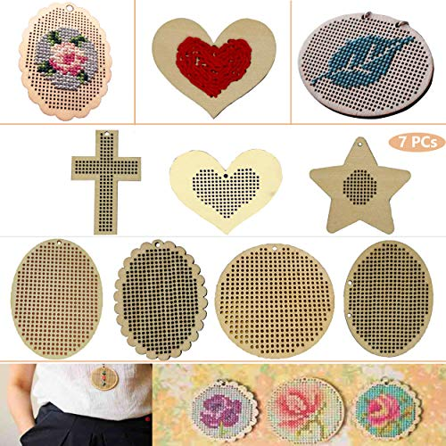 - Tofover Wooden Discs with Holes DIY Wooden Cross Stitch Hoop Mini Ring Embroidery Circle DIY Christmas Ornaments Hanging Decorations 7Pcs/Set