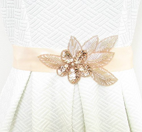 Rose Gold & Peach Satin Belt Small Medium Large XL Bridal Prom Vintage 1920s 3AYEXCLUSIVELY SOLD BY STARCROSSED BEAUTY by Starcrossed - Belt Peach