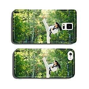 Karate girl makes high kick on forest outdoor location cell phone cover case iPhone6 Plus