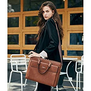 Leather Briefcases for Men and Women Large Slim Lawyer Laptop Bag fit 15.6 inch Vintage Business Work Bag Brown