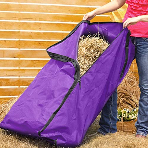 Essort Hay Bale Storage Bag, Extra Large Tote Hay Bale Carry Bag, Foldable Portable Horse and Livestock Hay Bale Bags with Zipper Waterproof, Purple 45'' x 14'' x 23'' by ESSORT (Image #4)