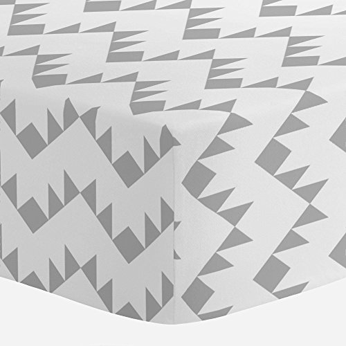 (Carousel Designs Silver Gray Aztec Zig Zag Crib Sheet - Organic 100% Cotton Fitted Crib Sheet - Made in The USA)