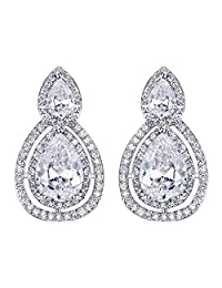 BriLove Women's Fashion Elegant Crystal Teardrop Hollow Out Infinity Clip-On Dangle Earrings Clear