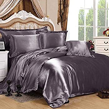 Image of Home and Kitchen Hotel Quality Luxurious Satin 7 Piece (1 Flat Sheet + 1 Fitted Sheet + 1 Duvet Cover + 4 Pillow Cases) Sheet Set, Seasonable Comfort Bedding Set, Charcoal, Queen