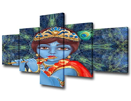 Living Room Decorations Indian Decor Shri Krishna Playing the Flute Pictures Happy Janmashtami Paintings 5 Piece Canvas Wall Art Home Decor Framed Gallery-wrapped Stretched Ready to Hang(50''Wx24''H) ()