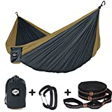 "Nordmiex Double Camping Hammock With Tree Straps - Portable Parachute Hammock for Two Persons,Include 9' Heavy Duty Hammock Tree Straps and Premium Aluminum Carabiners,118""(L) x 78""(W)"