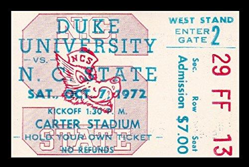 1972 Duke v North Carolina State Football Ticket 10/7/72 Carter Stadium 27540
