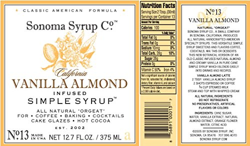 Sonoma Syrup Co Vanilla Almond Simple Syrup 2 natural orgeat