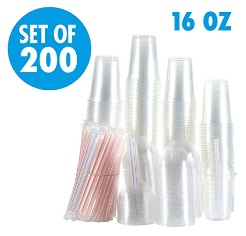 Set of 200 16oz Clear Plastic Cups with Dome Lids, Smoothie Wide Large Straw, Cold Smoothie Iced Coffee Cup with Lids, Great for Cocktail, Juice, Teas, Clear Frozen Drink Beverage (16oz, Dome)