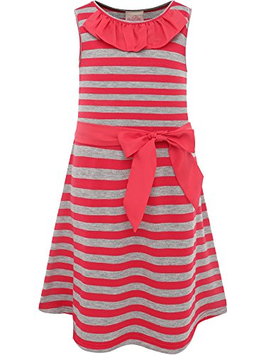 (Bonny Billy Girls' Round Neck Stripe Knit Dress with Removable Sash 3-4 Years Red)