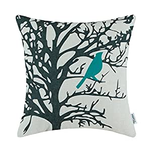 CaliTime Canvas Throw Pillow Cover Case for Couch Sofa Home, Shadow Bird Branches, 18 X 18 Inches, Teal Black