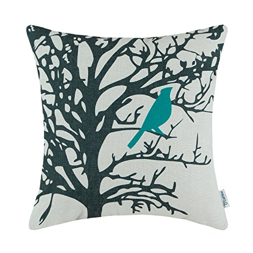 - CaliTime Canvas Throw Pillow Cover Case for Couch Sofa Home Decoration Cute Bird Tree Branches Silhouette 18 X 18 Inches Teal Black