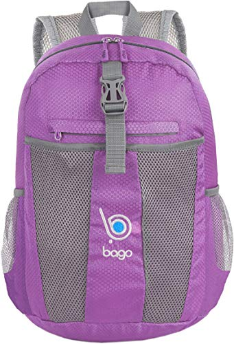 (bago 25L Lightweight Packable Backpack - Water Resistant Travel and Hiking Daypack - Foldable and Handy for Camping Outdoor Sports (Purple))