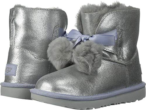 UGG Girls K Gita Metallic Pull-on Boot, Silver,