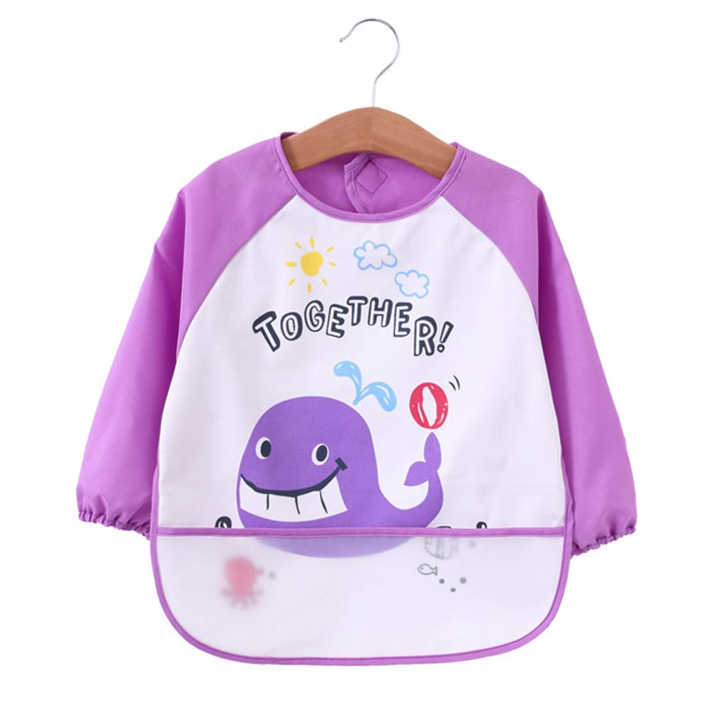 Baby Bibs Waterproof and Wipeable-Eat and Play Smock Apron(6-36 Months)
