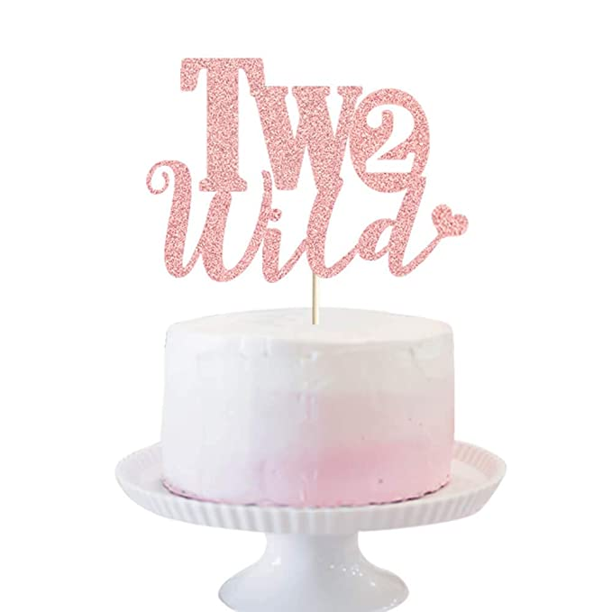 Gold Glitter Two Wild Birthday Cake Topper for Baby 2nd Birthday Party Decorations Two Wild Cake Topper