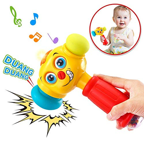 VATOS Baby Toys Light& Musical Baby Hammer Toy for 12 to 18 Months up | Infant Toys Funny Changeable Eyes Baby Hammer Toddler Toys for 1 Year Old + | -