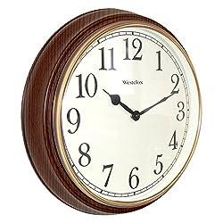 Westclox Quartz Wall Clock 15.5 Brown Quartz Movement Glass