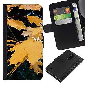 EJOY---La carpeta del tirón la caja de cuero de alta calidad de la PU Caso protector / LG G3 / --Otoño Otoño Amarillo Rain Tree Naturaleza