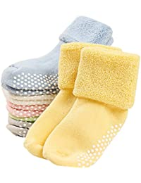 6 Pack Baby Socks with Grips Toddler Thick Cotton Socks Anti Slip 0-3 Years Old