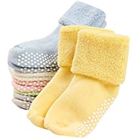 VWU 6 Pack Baby Socks with Grips Toddler Thick Cotton Socks Anti Slip 0-3 Years Old