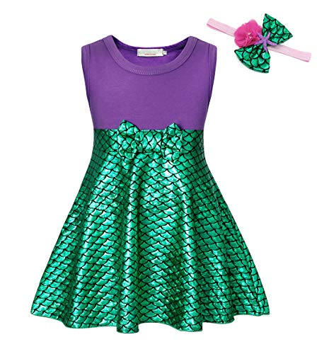 AmzBarley Princess Ariel Little Mermaid Costume for Girls Fancy Party Cospaly School Show Dress up Birthday Halloween Outfits with Headband Size 5-6 Years]()