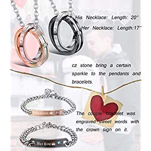 Milacolato Couple Pendant Necklace Gift for Men Women His & Hers Matching Set Jewelry Stainless Steel Couples Distance Bracelets Chain Lover Gift, 4PCS