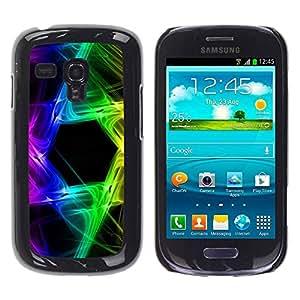 Paccase / SLIM PC / Aliminium Casa Carcasa Funda Case Cover para - Rainbow Black Hexagon Colors - Samsung Galaxy S3 MINI NOT REGULAR! I8190 I8190N
