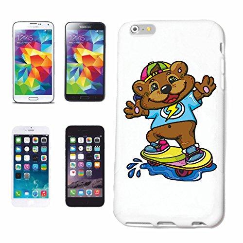 """cas de téléphone iPhone 6S """"PETIT OURS DOUX COMME SKATEBOARDER SUR LA PLANCHE À ROULETTES POLAR BEAR TEDDY BEAR BEAR"""" Hard Case Cover Téléphone Covers Smart Cover pour Apple iPhone en blanc"""