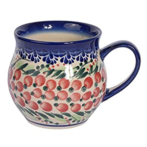 Traditional Polish Pottery, Handcrafted Ceramic Bubble Mug (350ml), Boleslawiec Style Pattern, Q.502.Cranberry