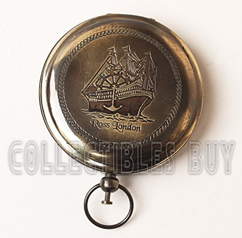 Collectibles Buy Nautical Ross London Brass Round Pocket Compass Marine Navigational Royal Device Gift Item (Antique) ()
