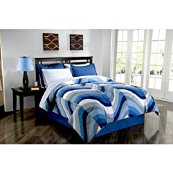 Blue Wave Queen Comforter Set (8 Piece Bed in a Bag) Beach Life