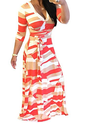 Locryz Women's V Neck 3/4 Sleeve Digital Floral Printed Party Loose Long Maxi Dress with Belt S-3XL (XXXL, Orange Red) (Coral Maxi Dresses For Women)