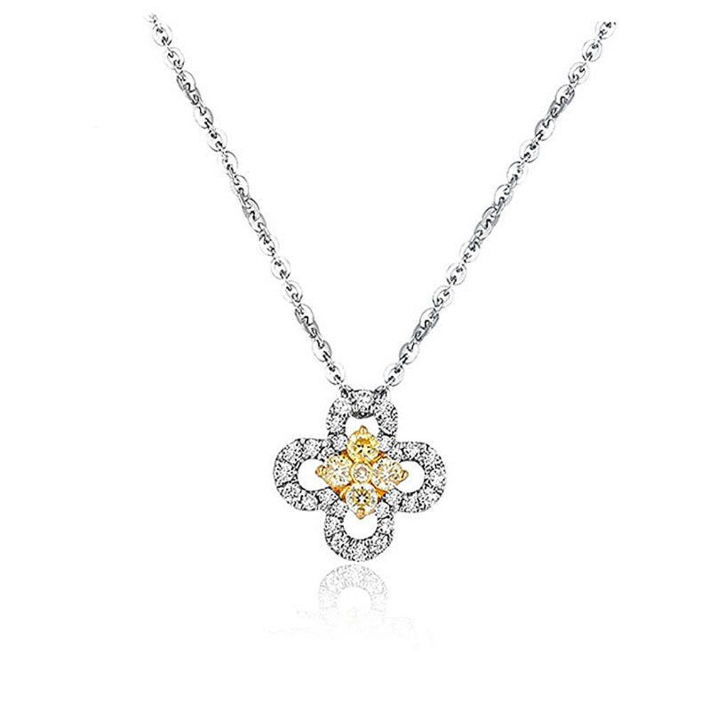 Plata de Ley Oro Blanco circonitas diamante flor colgante collar para boda declaración mujeres niñas amarillo 16