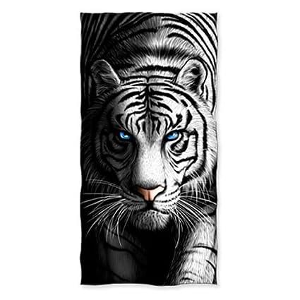 Donola White Tiger - Toalla de playa (algodón, 78,7 x 132,
