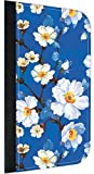 Blue Blossoms Print Design Apple Ipad mini - Versions 1,2, and 3 PU Leather and Suede iPad Case Made in the USA