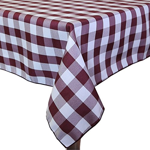 Ultimate Textile (2 Pack) 45 x 45-Inch Square Polyester Gingham Checkered Tablecloth - for Picnic, Outdoor or Indoor Party use, Burgundy and (Burgundy Gingham)