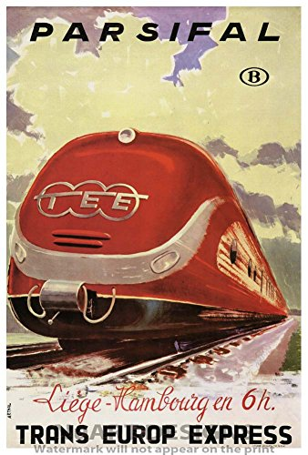 "Vintage Train Reproduction Giclee Poster ""PARSIFAL - TRANS EUROP EXPRESS - LIEGE TO HAMBOURG EN 6H""."
