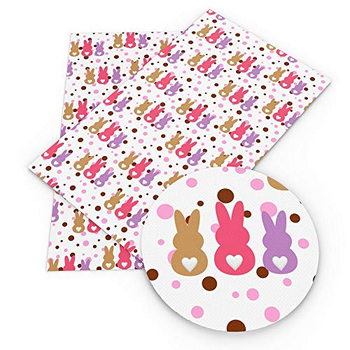 (7.8x13 Inch Easter Rabbit Egg Faux Artificial Synthetic Leather -Tiny Icon Faux Leather Fabric Sheets-Animal Print Synthetic Leather-Cute Leather Sheets-Cartoon Leather Fabric Sheets (Style 1))