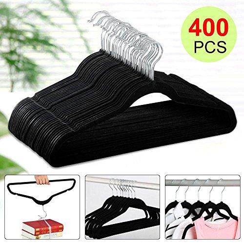 Yaheetech 17.7''/45CM Velvet Suit Hangers - 400-Pack - Black by Yaheetech