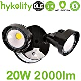 Hykolity 20W Dusk to Dawn LED Security Light, Outdoor Wall Mount Floodlight [150W Equivalent] 2000lm 5000K IP65 Waterproof, Adjustable Dual Head, ETL Listed