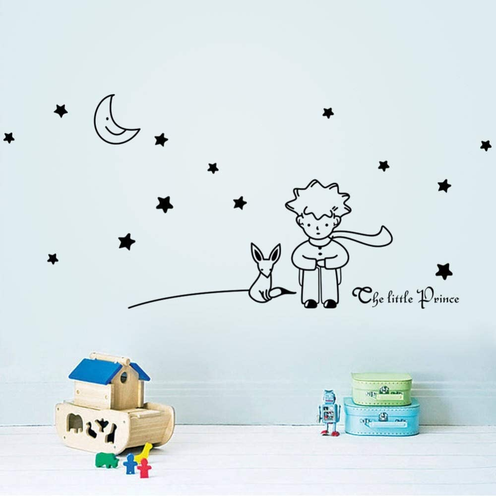 WLWIN El más nuevo de sign Little Prince With Fox Moon Star decoración para el hogar etiqueta de la pared/lovely romantic kids room decal/regalo para niño amigo,Regalo,Año nuevo