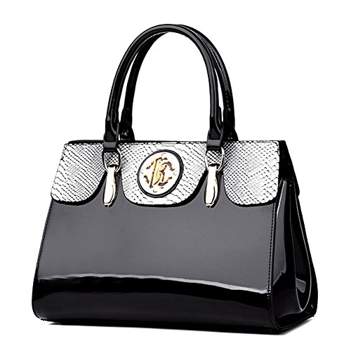 G-AVERIL New Top-handle Handbag Women Crossbody Shoulder Bag Messenger Purse Satche Patent Leather Black 17 Magazine Rugs