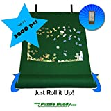 """Puzzle Buddy:Roll Up Felt Mat   Securely Store, Transport Unfinished Puzzles, (Includes Box Stand), Perfect for Grandparents, Grandkids and Puzzle Enthusiasts   Made In the USA - Storage Kit For Puzzles Up To 3000 Pieces, 54"""" x 35"""""""