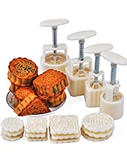 PowerKing Cookie Stamps, Cookie Presses, Moon Cake Mold , DIY Decoration Hand Press Cutter for Party Home Hotel (4 Sets, Each 3 Pattern Stamps)