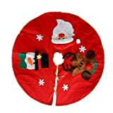 Interlink 39In Res Christmas Tree Skirt with Santa Snowman and Reindeer Xmas Tree Skirts Mart Carpet Christmas Home Holiday Party Decoration